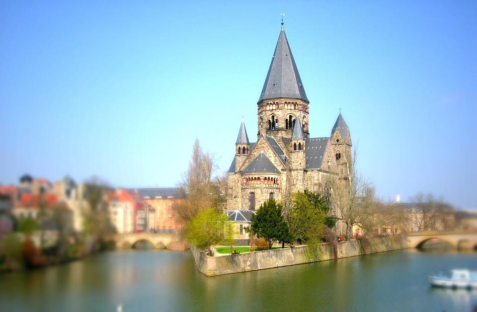 Moselle, Metz, Tilt-Shift, Temple