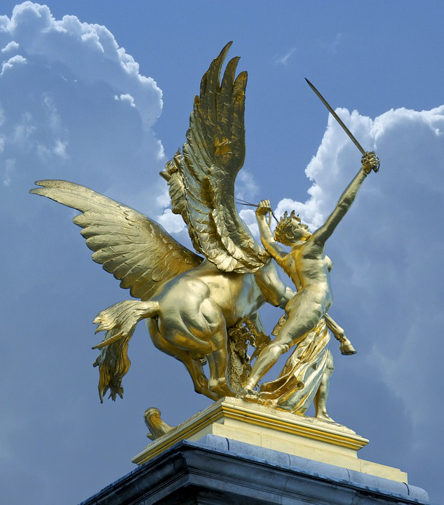 Paris, France, Sculpture, Statue, Monument, Ciel