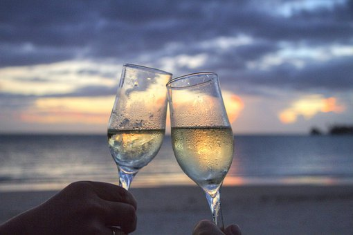 Glasses Sparkling Wine Cheers Sun Set Even