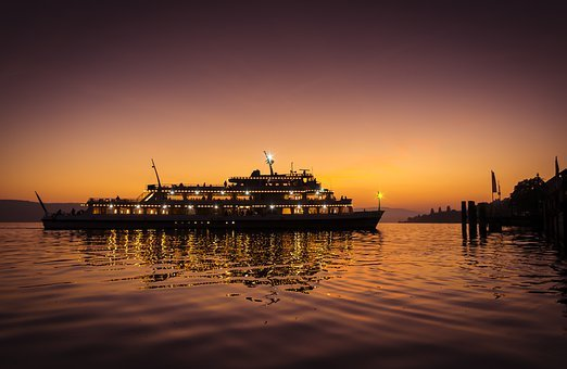 Lake Constance Ship Sunset Violet Light Ub