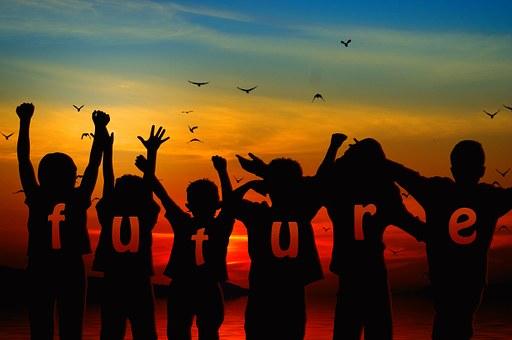 Children Silhouette Cheers Forward Po