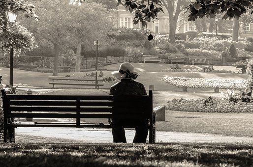Women, Lady, Old, Hat, Sit, Alone