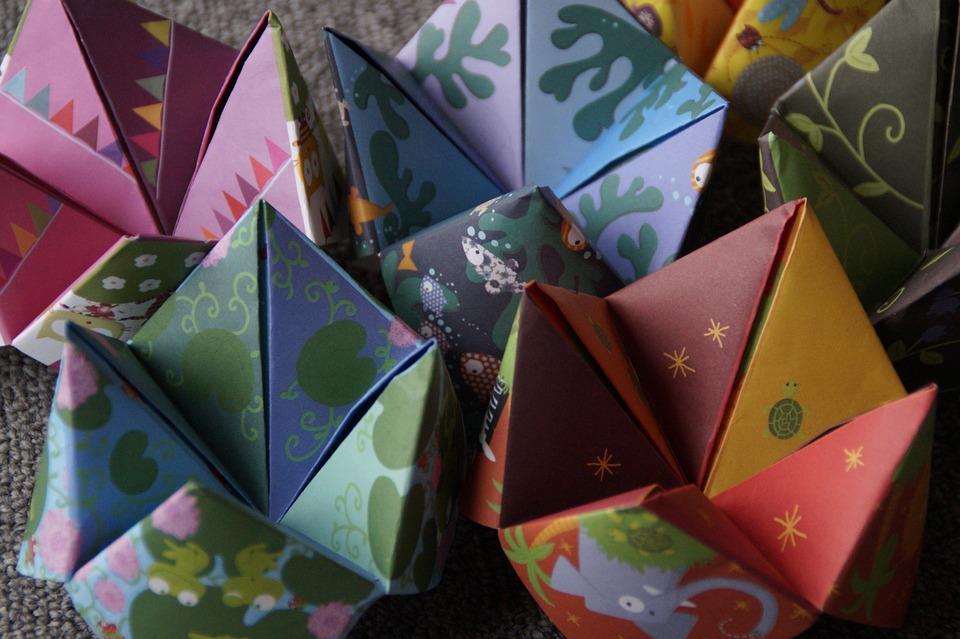 Origami, Ciel Et L'Enfer, Plié, Papier, Coloré