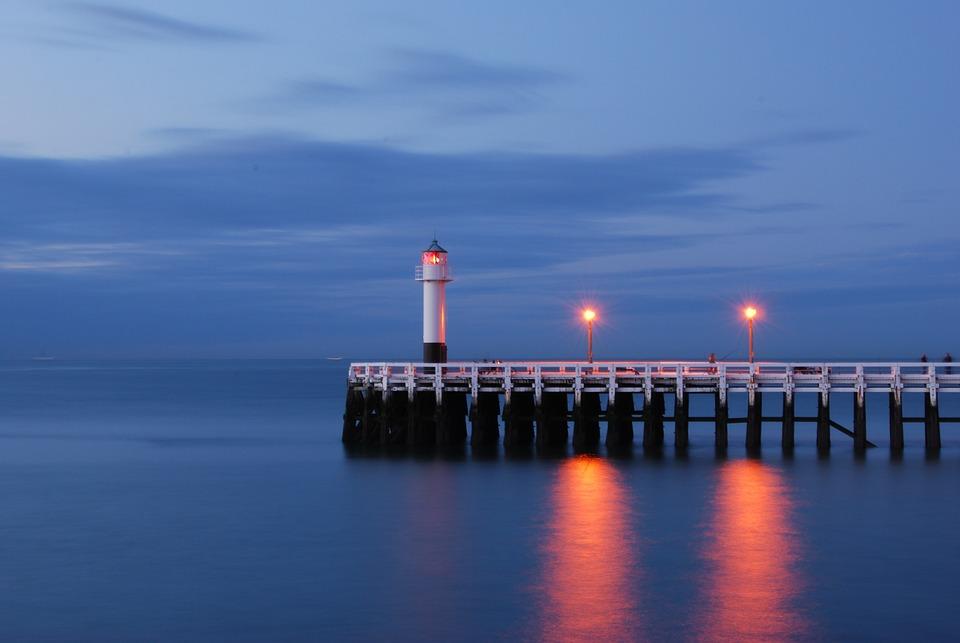 Sea, Lighthouse, Water, Nieuwpoort, Slow Shutter Speed