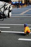 little boy, hunching, curiosity