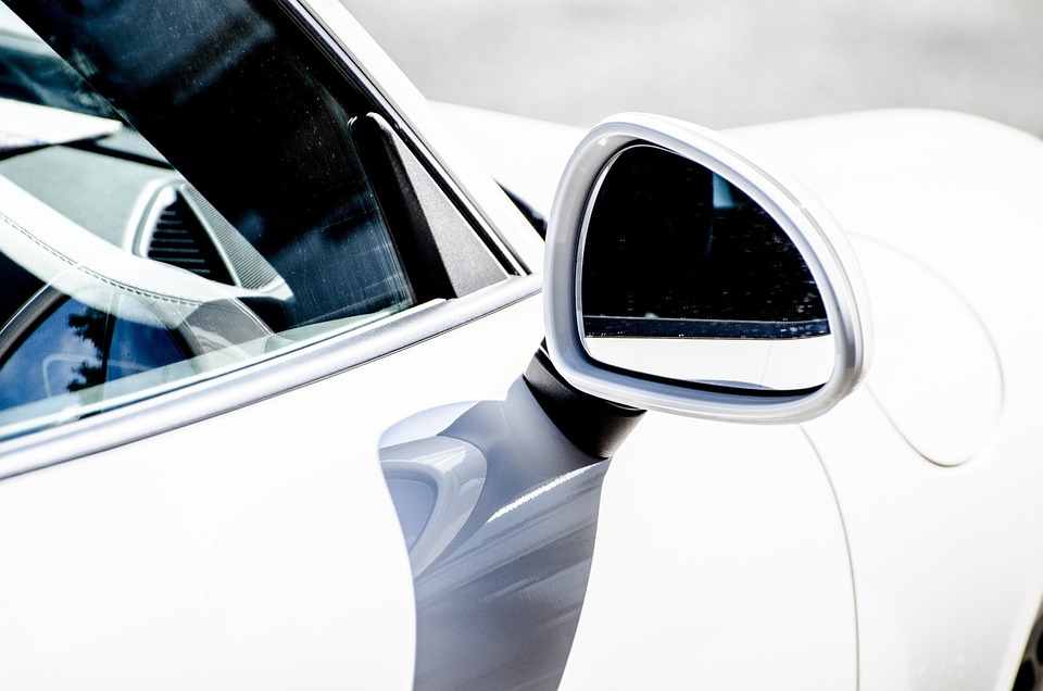 Rear View Mirror, Car, White, Close-Up, Image, Sport