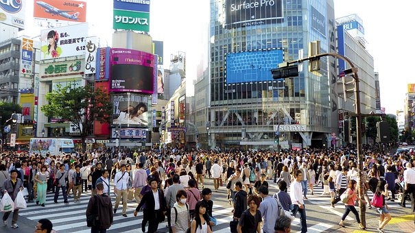 日本, 東京, 渋谷, 建物, 群衆, 人, ショッピング, 道路
