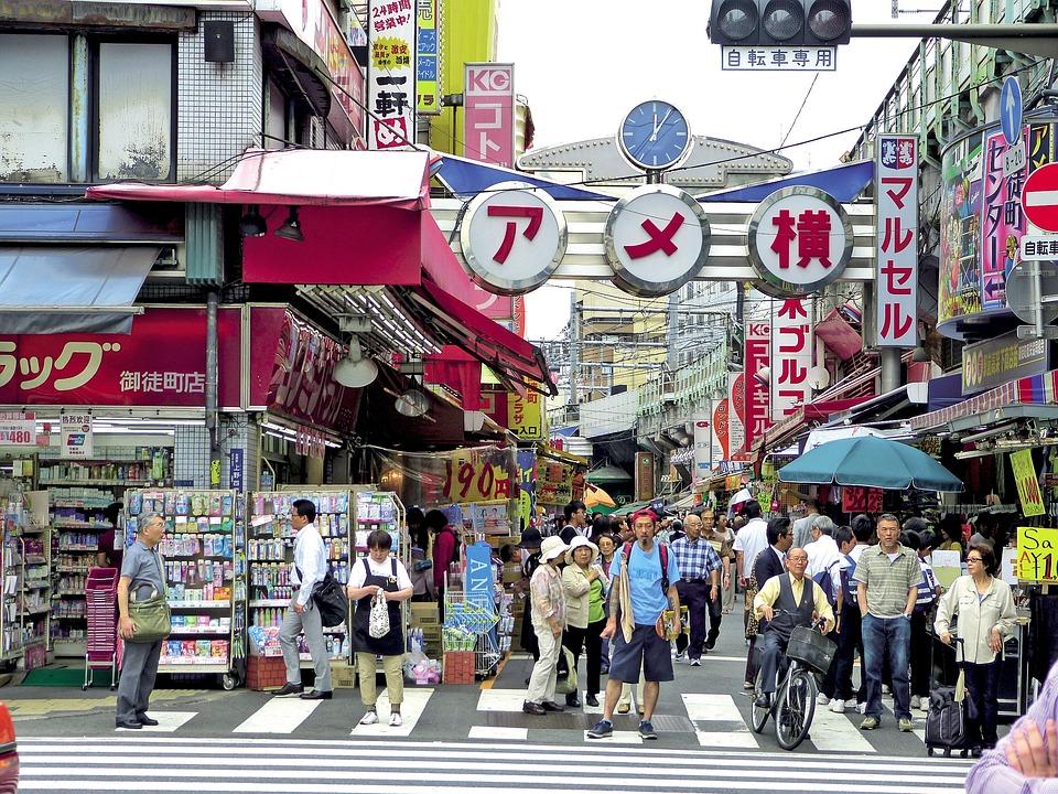 日本, 上野, 通り, 記号, ショップ, 群衆, 人, 東京, コミュニティ