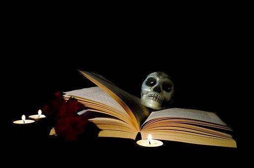 Halloween, Book, Candle, Magic, Postcard