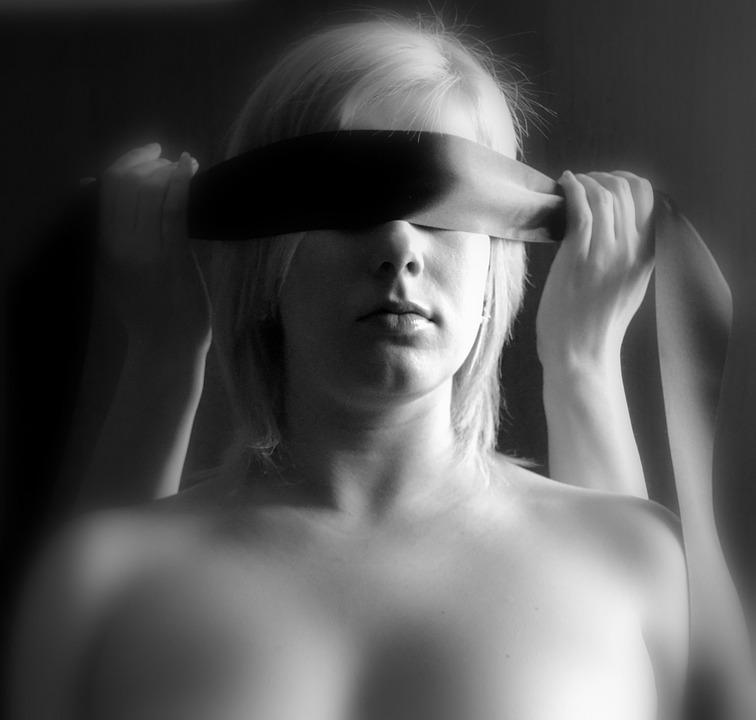 Vrouw, Blind, Licht, Erotica, Sadomasochisme, Blond