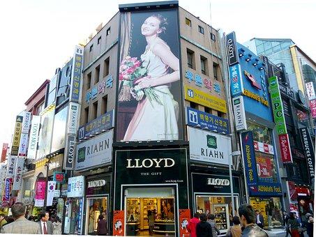 照らされた広告, 街, ファッション ストリート, アドバタイズ, ファッション