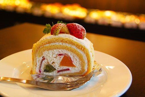 ケーキ, クリーム, イチゴ, デザート, イチゴのケーキ, クリーム ケーキ