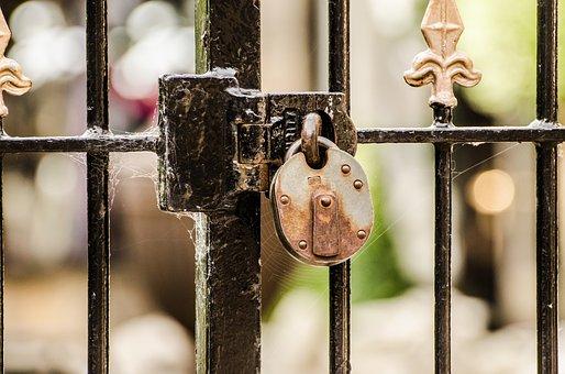南京錠, ゲート, ロック, プライベート, クローズ アップ, クモの巣, 鉄