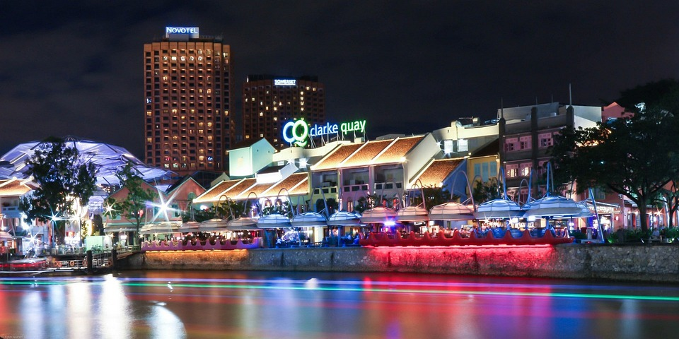 Clarke Quay, Singapore, Night, Nighttime, Long Exposure