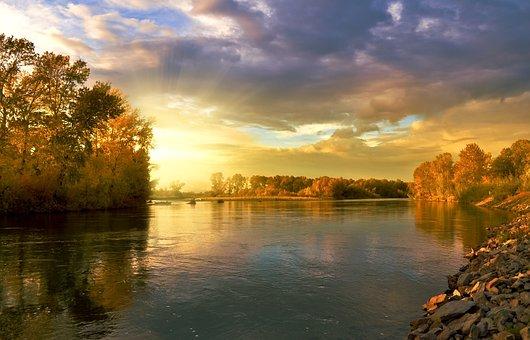 River, Autumn, Trees, Leaves, Foliage