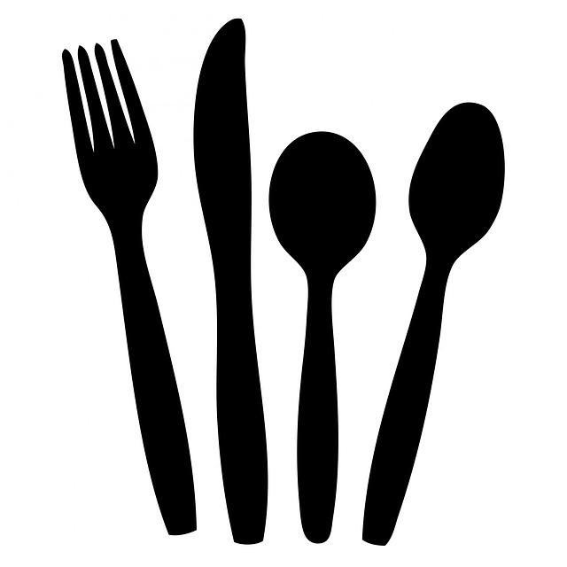 free illustration cutlery knife fork spoon black. Black Bedroom Furniture Sets. Home Design Ideas