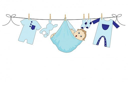 Baby, Boy, Blue, Clothes, Line, Washing