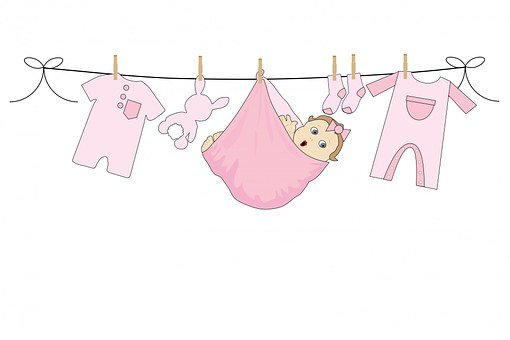 Baby, Girl, Pink, Clothes, Washing