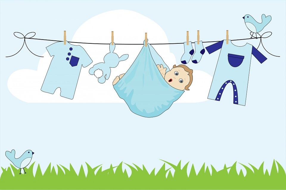 Baby, Boy, Baby Boy, Clothes, Line, Laundry, Washing