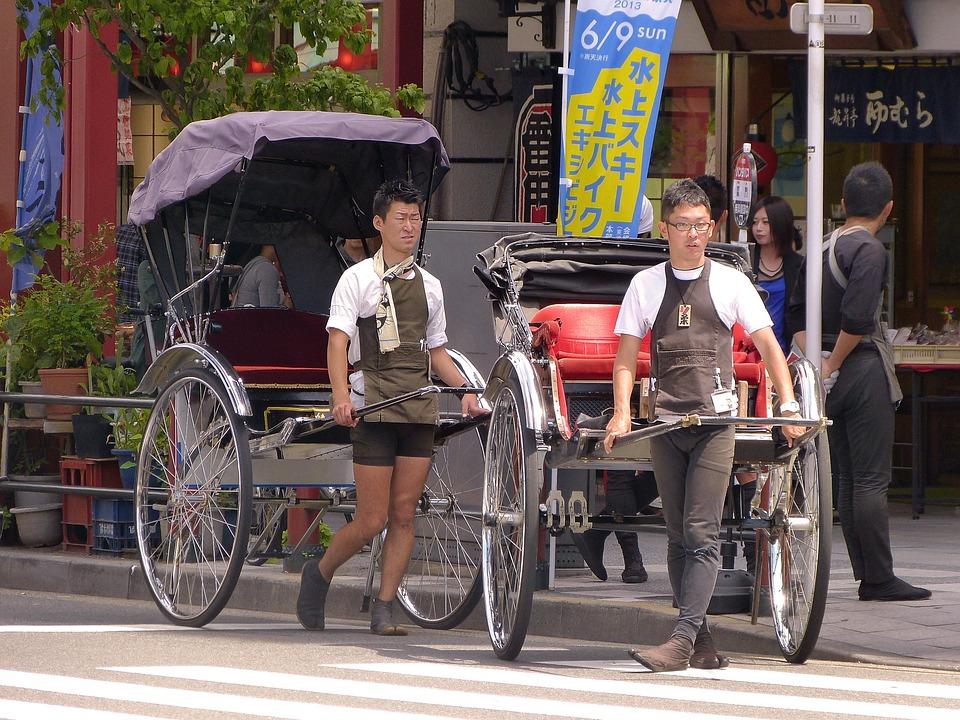 日本, 東京, 浅草, 人力車, 町, プル, 交通, ホイール, タイヤ, 男性, キャリー, 道路