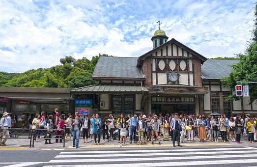 日本, 東京, 原宿, 鉄道駅, 通り, 交差点, 道路, 鉄道, 群衆