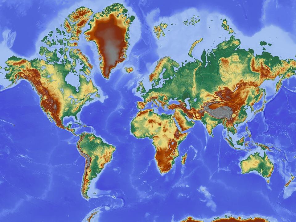 Karte Kontinente Welt.Karte Weltkarte Reliefkarte Kostenloses Bild Auf Pixabay