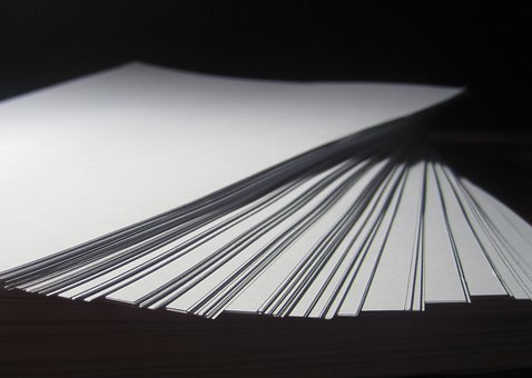 Paper, Ream, Stack, Tiered, White, Note