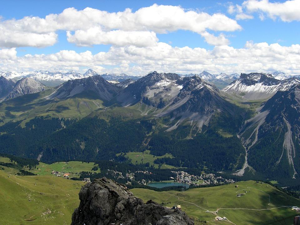 Arosa, Svájc, Hegyi, Ég, Hegyek, Felhők