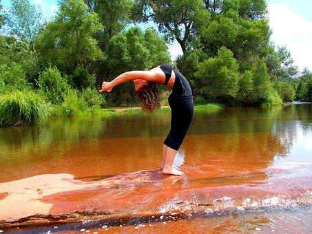 Yoga, Backbend, Nature, Woman, Fitness