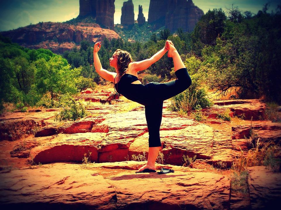 Gleichgewicht, Yoga, Pose, Tänzerin, Felsen, Natur