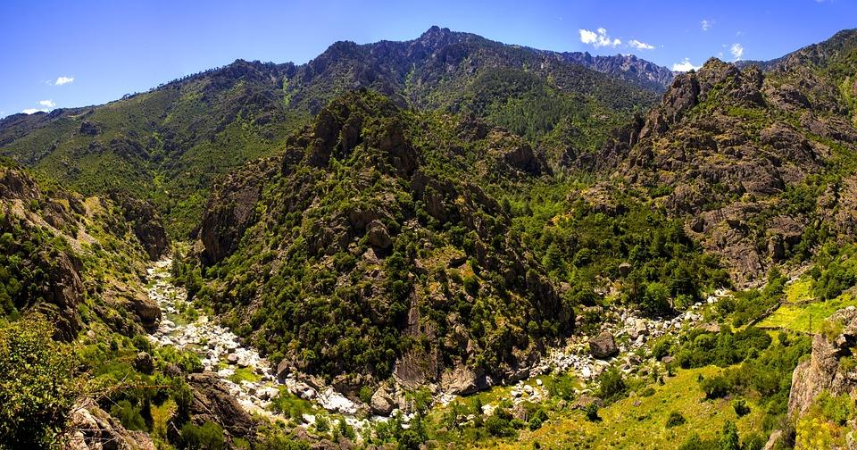 Korsyka, Francja, Charakter, River, Krajobraz, Góra