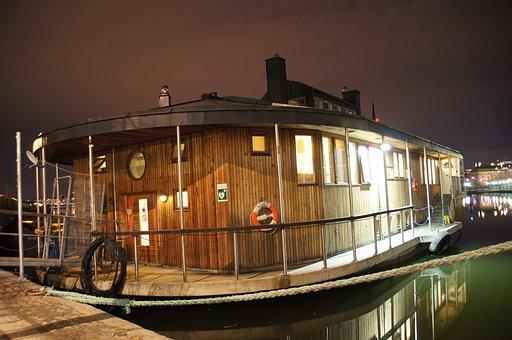 Houseboat, Night, Boat, Houseboat