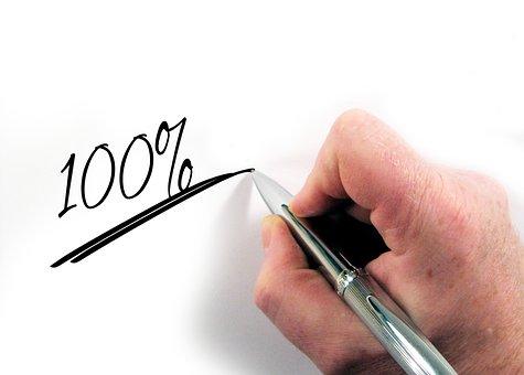 パーセント, 100, 3 D, 部分的な支払, 手, 書きます, ペン, 紙