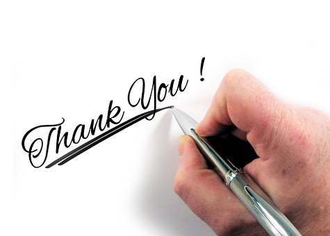 Hand writing thank you! as part of Online awareness creation 4: Get on Twitter
