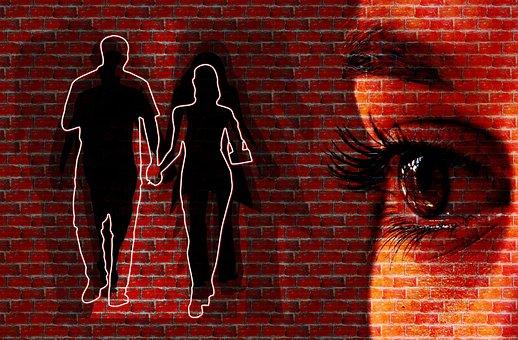 Mujer La Cara Muro Punto De Vista Ojos Dir