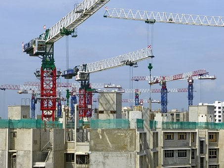 建設, サイト, クレーン, 建築工事, ヘルメット, アーキテクチャ, 青
