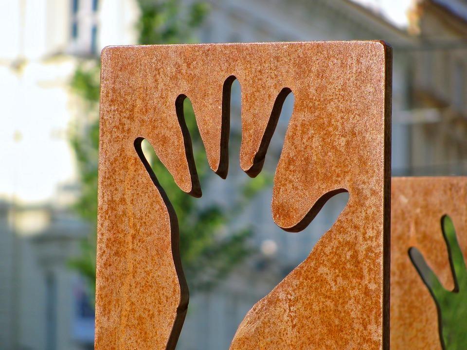 手, ファインダー, ストリート アート, 彫刻, オブジェクト, アート, 親切なご挨拶, さびた
