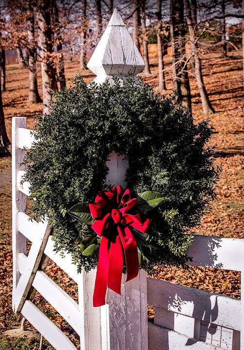 Christmas Wreath Gate Boxwood 183 Free Photo On Pixabay
