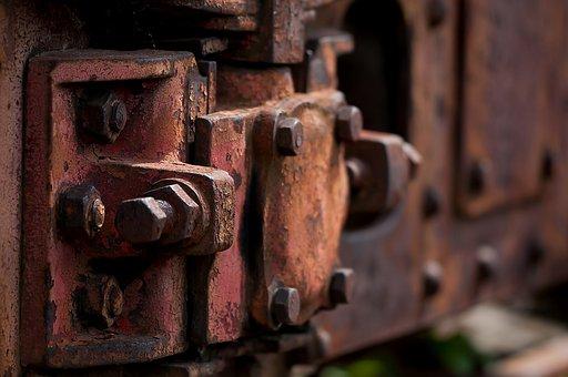 ステンレス, ワゴン, 列車, 鉄道, 古い, 錆, ねじ