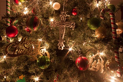 Christmas Tree, Ornaments, Cross, Manger