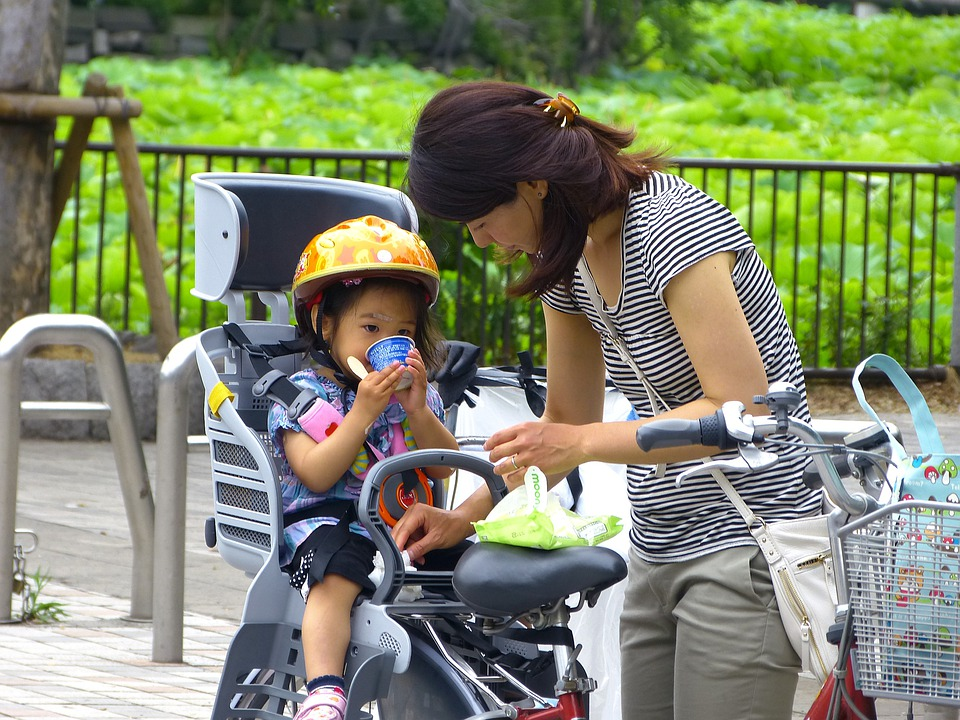 Japan, Tokyo, Ueno, Women, Kid, Japanese, Park, Bicycle