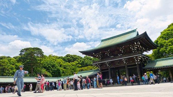 神社, 日本, 東京, 群衆, 人, 原宿, アーキテクチャ, 公開, 原宿