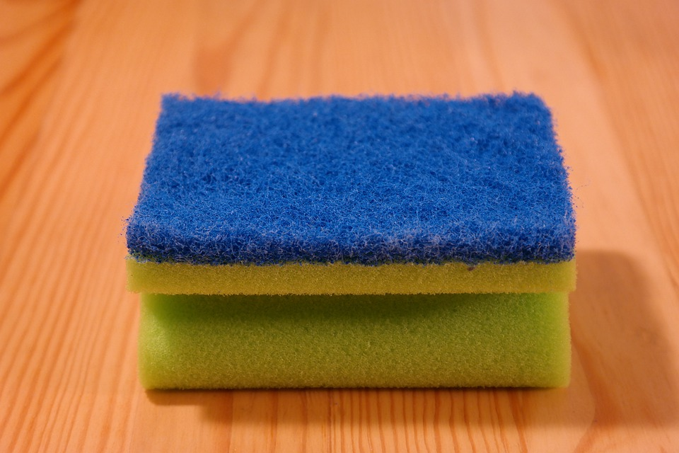 Sponge, Clean, Rinse, Blue, Green, Pot Sponge