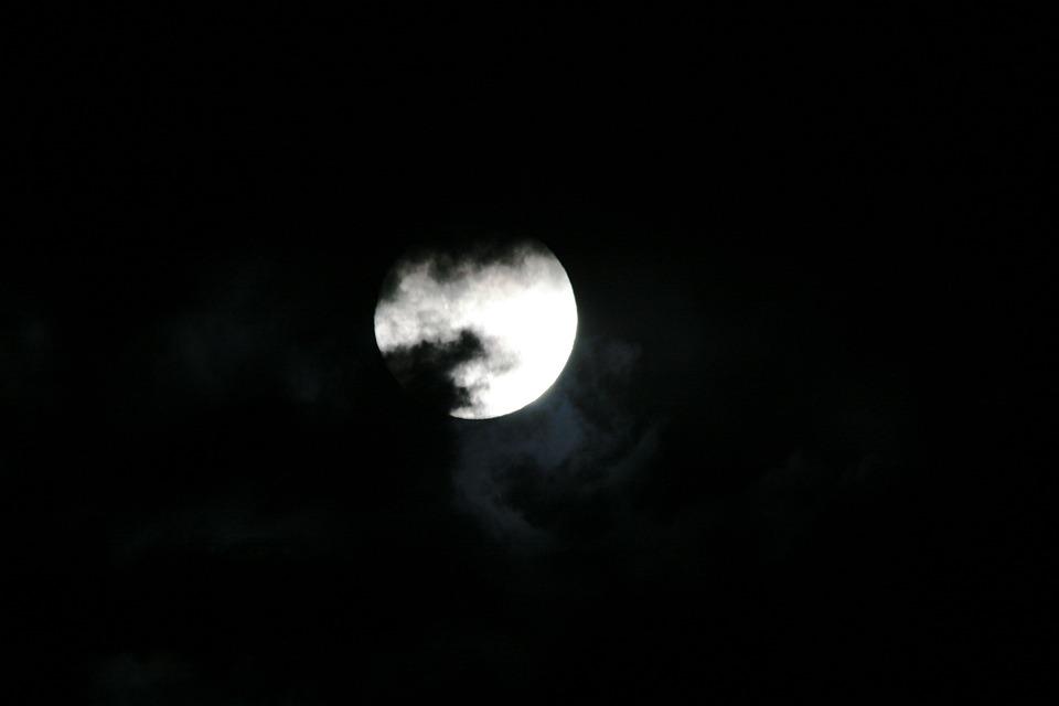 Moon Full Bright Light Clouds Smoky Dark
