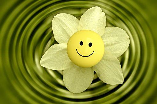 花, スマイリー, 絵文字, ウェルネス, 健康, 笑顔, 幸せです, 喜び