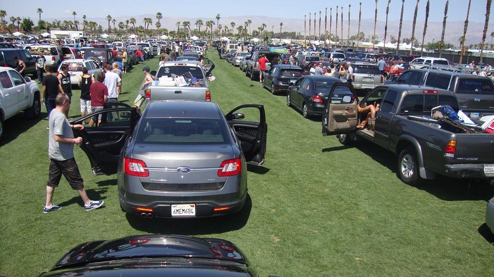 駐車場, 車, 多く, 公園, 自動車, 自動, 駐車, コーチェラ, 音楽祭