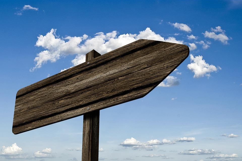 道標, ウェイポイント, 木材, 粒, ボード, サイン, 方向, 右, 道, マーキング, 矢印, 天国
