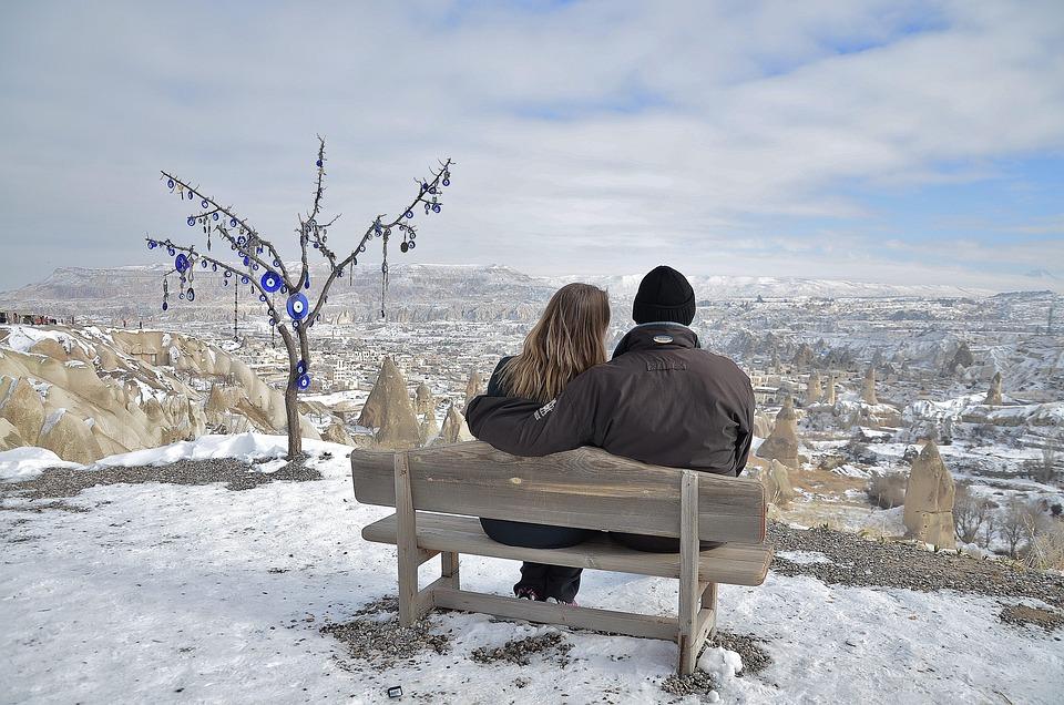 カップル, 愛, ペア, 二人組, 空, 一緒に, 2, 一体感, 冬, 自然, 雪, 冷凍, 氷, ホワイト
