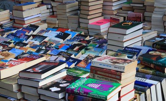 ตลาดนัด, หนังสือ, กล่อง, ของกระจุกกระจิก