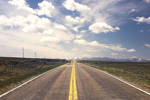道路, 風景, 田舎, 舗装, アスファルト, 高速道路, ドライブ, ルート